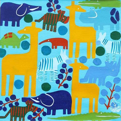 ティンガティンガ・アート 4921「動物たちのシルエット~ブルー」by ズベリ Sサイズ
