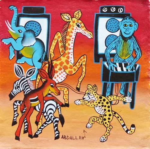 ティンガティンガ・アート 5945「アフリカの鳥獣戯画~音楽とダンス」by アブダラSサイズ