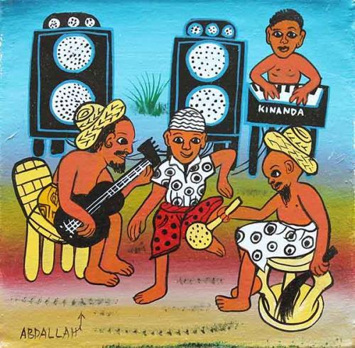 ティンガティンガ・アート 5951「ナカパニャ村の生活~音楽とダンス」by アブダラSサイズ