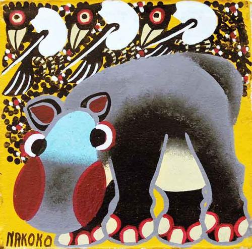 ティンガティンガ・アート 5856「真っ赤なほっぺのカバ~イエロー」by ナココSサイズ
