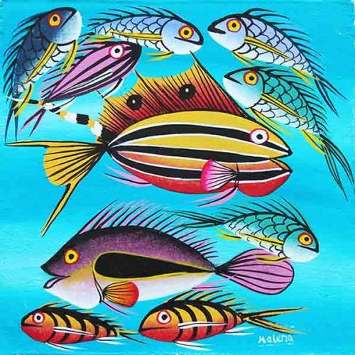 ティンガティンガ・アート 4619「アフリカの海~スカイブルー」by ヘレナ Sサイズ