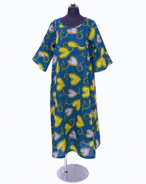 キテンゲ フレアスリーブ ロングワンピース  16(ブルー×イエロー)フリーサイズ