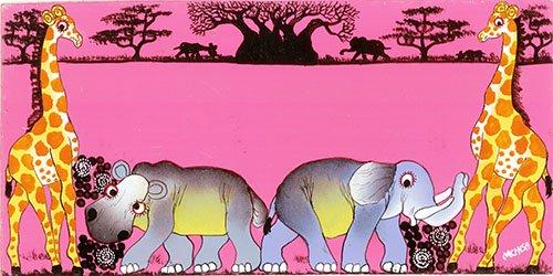 ティンガティンガ ルームプレート144 ピンク『サバンナの動物たち〜バオバブの樹』