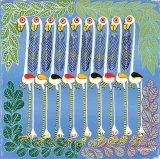 ティンガティンガ・アート 5860「フラミンゴのラインダンス〜ブルー」by ムワメディSサイズ