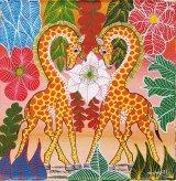 ティンガティンガ・アート 5621「キリンのカップル〜ハート〜ニッポンのキモノシリーズ〜ピンク」by ムワメディSサイズ