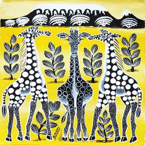ティンガティンガ・アート 5925「キリンの家族〜キリマンジャロ〜モノクロ〜イエロー」by ベイカーSサイズ