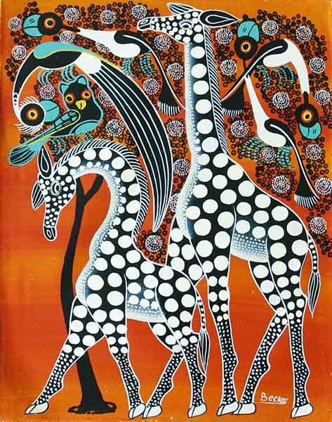 ティンガティンガ・アート 139「キリンのカップル~モノクロ~オレンジ」by ベイカーMサイズ