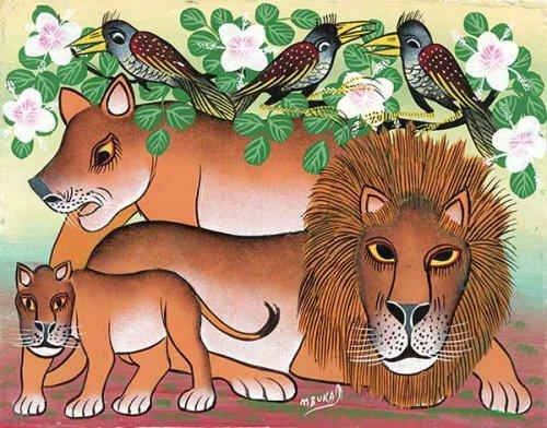 ティンガティンガ・アート 313「花の樹に憩うライオンの親子とアフリカの鳥」by ムブカMサイズ