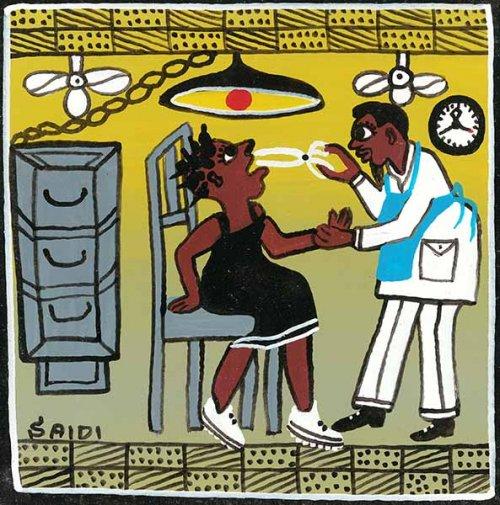 ティンガティンガ・アート 1133「歯医者~タンザニアの病院の風景」by サイディSサイズ