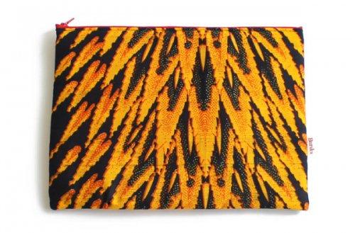 アフリカの布キテンゲ 平ポーチ 大3 (オレンジ)ふわふわ中綿入り大中小 3サイズ展開
