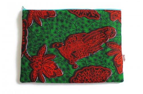 アフリカの布キテンゲ 平ポーチ 大4 (グリーン)ふわふわ中綿入り大中小 3サイズ展開