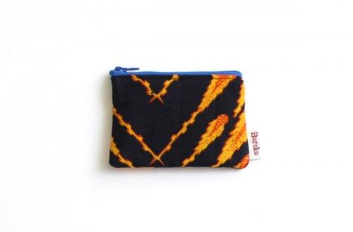 アフリカの布キテンゲ 平ポーチ 小1 (オレンジ)ふわふわ中綿入り大中小 3サイズ展開