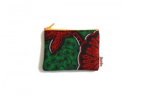 アフリカの布キテンゲ 平ポーチ 小2 (グリーン)ふわふわ中綿入り大中小 3サイズ展開