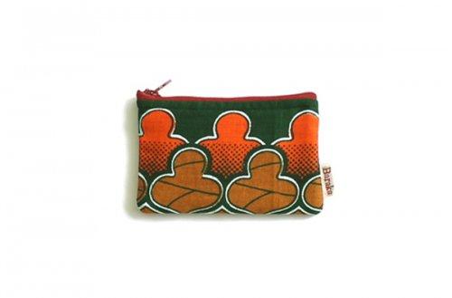 アフリカの布キテンゲ 平ポーチ 小3 (グリーン)ふわふわ中綿入り大中小 3サイズ展開