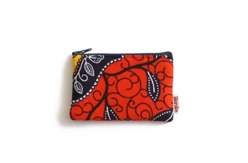 アフリカの布キテンゲ 平ポーチ 小4 (レッド)ふわふわ中綿入り大中小 3サイズ展開