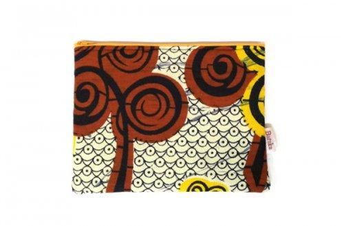 アフリカの布キテンゲ 平ポーチ 中10 (イエロー)ふわふわ中綿入り大中小 3サイズ展開