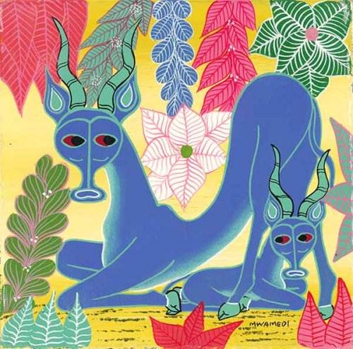 ティンガティンガ・アート 5888「楽園の動物たち〜ガゼルの親子〜イエロー」by ムワメディSサイズ