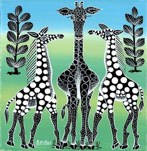 ティンガティンガ・アート 5255「キリンのカップル~モノクロ~グリーン&ブルー」by ベイカーSサイズ