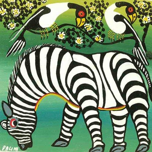 ティンガティンガ・アート 1115「シマウマとアフリカの鳥」by ダリーニSサイズ