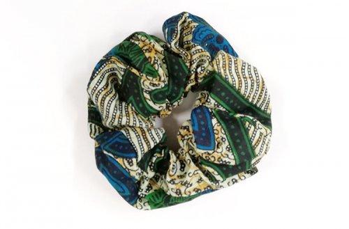 カラフル!アフリカ布カンガ・キテンゲ シュシュ 28(グリーン×ブルー)大人カワイイアフリカンヘアアクセサリ…