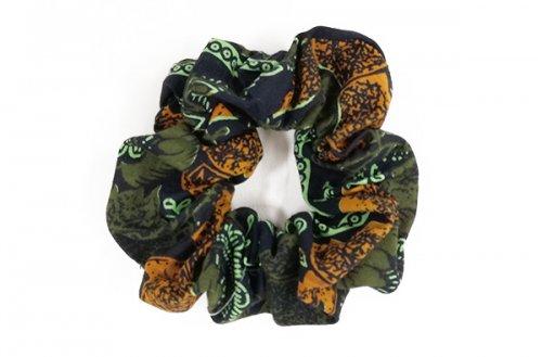 カラフル!アフリカ布カンガ・キテンゲ シュシュ 30(グリーン×オレンジ)大人カワイイアフリカンヘアアクセサリ…