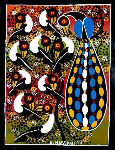 ティンガティンガ・アート 58「鳥の楽園」by ハッサーニMサイズ