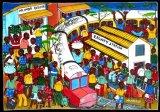 ティンガティンガ・アート 234「アフリカの駅」by マリキータLサイズ