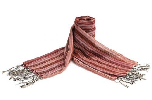 コットン手織りストール 99レッド系ストライプ ベージュ、ピンクのライン