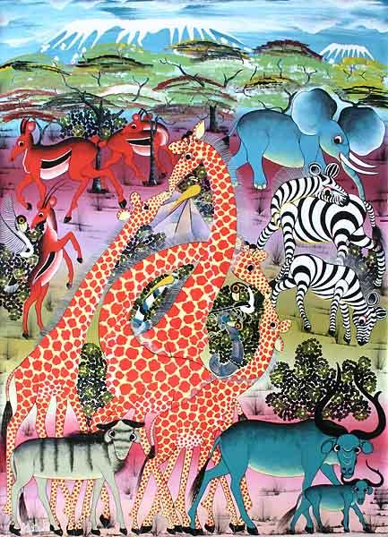 ティンガティンガ・アート 555「キリンの家族と動物たち」by ムスターファLサイズ