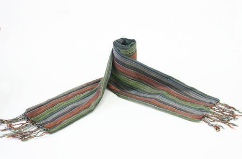 コットン手織りストール 111オレンジ系ストライプ 緑、青のライン