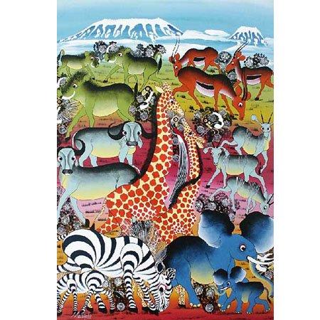 ティンガティンガ ポストカード29『大地に集う動物たち~雲に浮かぶキリマンジャロ』by Mustapha
