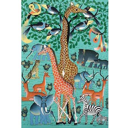 会員10%OFF!ティンガティンガ ポストカード32『緑樹に集う動物の仲間たち』by Abbashi