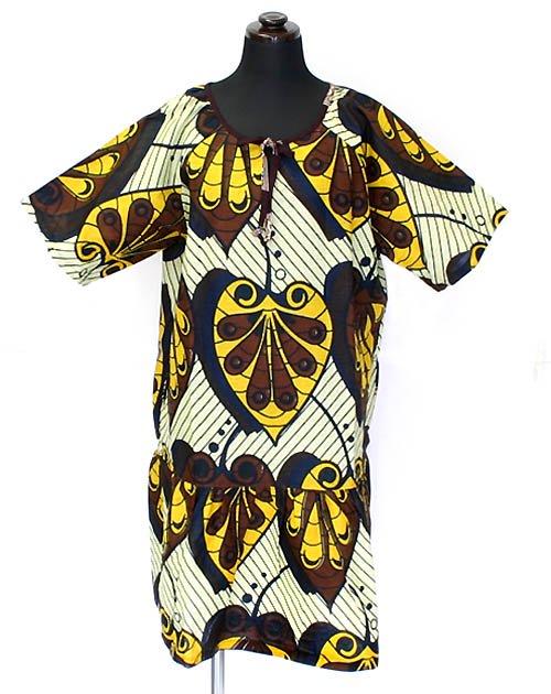 キテンゲ ムームー風ワンピース 1 (イエロー×ネイビー)アフリカンファッション