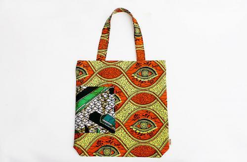 アフリカ布キテンゲパッチワークリバーシブルトートバッグ 10(イエロー×ホワイト)アフリカ雑貨