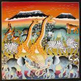 ティンガティンガ・アート 435「大地に集う動物たち〜朝焼けのキリマンジャロ」by ムテコLサイズ