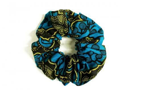 カラフル!アフリカ布カンガ・キテンゲ シュシュ 7(ブルー×イエロー)アフリカンヘアアクセサリー