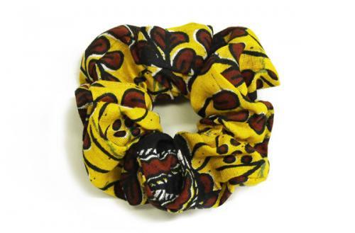カラフル!アフリカ布カンガ・キテンゲ シュシュ 8(イエロー×ブラウン)アフリカンヘアアクセサリー