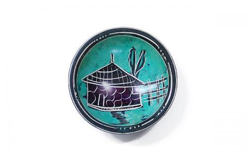 天然石ソープストーンオブジェ 絵皿(S) 30ハヤ族の家(ブルー)直径約10cm