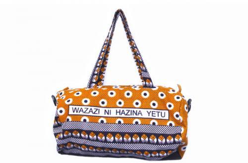 カンガ ドラムバッグ 5(オレンジ)大容量ボストンバッグ・男女兼用アフリカの布