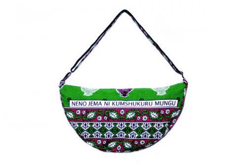 カンガ バナナバッグ 8(グリーン)大容量ショルダーメッセンジャーバッグ・男女兼用アフリカの布