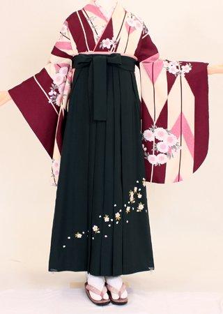 【着物・袴セット】S042/H060赤紫大矢・深緑斜め桜刺繍