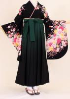 卒業式 袴 レンタル【着物・袴セット】S050/H004黒地多色花盛り・緑黒暈し