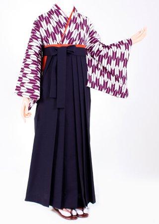 卒業式 袴 レンタル【着物・袴セット】S027/H012紫矢絣・紺無地