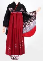 卒業式 袴 レンタル【着物・袴セット】S015/H032 黒地小花袖赤・明ワイン小花刺繍