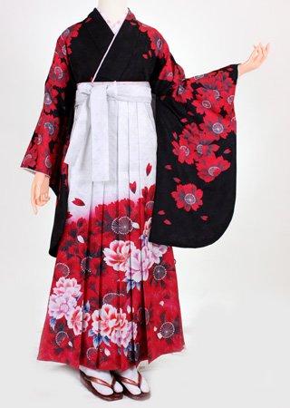 卒業式 袴 レンタル【着物・袴セット】S064/H055黒地赤花赤暈し袴