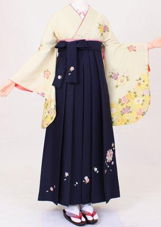 卒業式 袴 レンタル【着物・袴セット】S142/H038 黄色花畑/紺桜刺繍紐花
