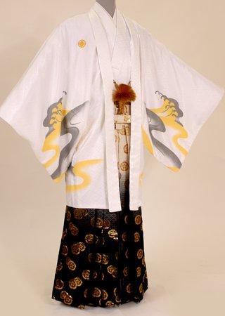 卒業式 袴 レンタル 男性 羽織袴【紋付袴セット】 M103/H103 白地金彩虎/白黒金紋暈し