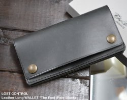 [ LOST CONTROL ] レザーロングウォレット / Leather Long WALLET *The Fool (Pale Black)