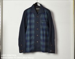 [ LOST CONTROL ] イタリアンカラーエフシーシャツ / Italian Collar FC Shirt (Blue*Navy)