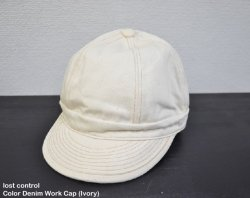 [ lost control ] カラーデニムワークキャップ / Color Denim Work Cap (ivory)